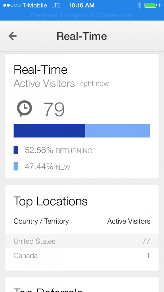 Google Analytics iOS App Real Time Overview