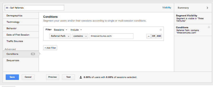 Three Ventures Advanced Self-Referral Segement Google Analytics