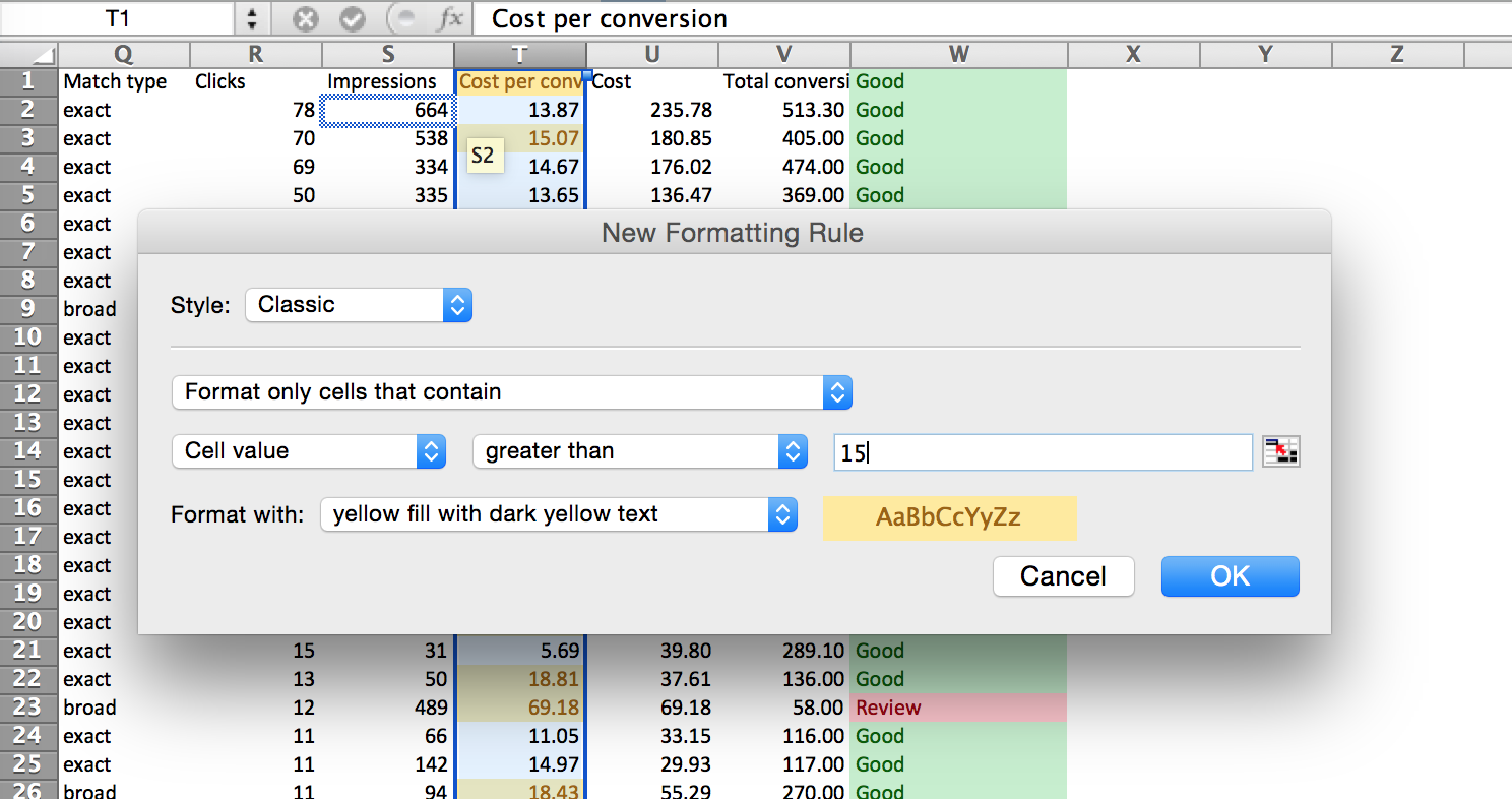 Google Adwords Search Query Data Conditional Formatting For Values Higher Than Goals