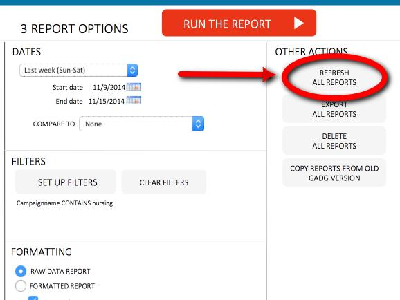 Google Adwords Search Query Data Update Report With One Click